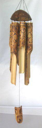 Burnt Flower Bamboo Windchime 37 Beautiful Sound - New