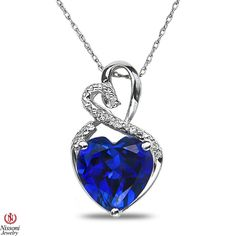 Ladies Diamond Accent Heart Pendant w/ Created Sapphire w/ Chain Sterling Silver