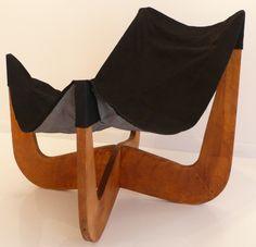 Henry Glass; Birch Prototype Sling Chair, c1960.