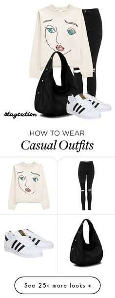 """simple and casual"" by jana-zed on Polyvore featuring Topshop and adidas"