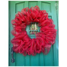 Summer Wreath, Round Bubble Deco Mesh, Holiday Party, Everyday, Farmhouse-style Home Door Entryway Decor - Hot Pink / 24 inches