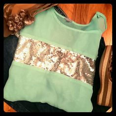 Beautiful Mint Blouse Mint and sequin spring time blouse, semi see-through, in perfect condition, sz XL, by Charlotte Russe Charlotte Russe Tops Blouses