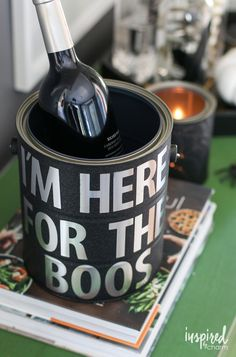 DIY Halloween Paint Can Decor | inspiredbycharm.com/Cute for Halloween but could use this with any season or saying.