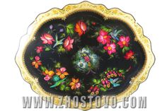 """Figured Zhostovo tray with a unique, hand-painted. Metal, oil paint, lacquer. Name """"Colibri"""" size 84x67 cm, farrier Forged by hand, ART-04, price: 80.000 ruble."""