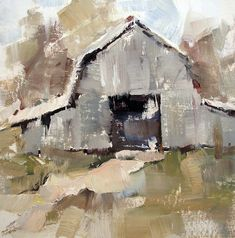 Gina Brown, American, Alabama-based, Just a Barn, Modern Impressionism Paintings I Love, Barn Paintings, Small Paintings, Farmhouse Paintings, Rustic Painting, Barn Art, Guache, Abstract Landscape, Abstract Art