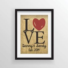 Custom Rustic Burlap Art Print LOVE Heart Wedding by Cloud9Craftss, $15.00