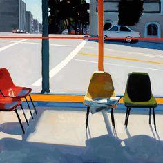 "Painting by Dmitri Cavander: ""Laundromat Waiting Room"", Oil on canvas, × September 2007 Ligne Claire, Digital Museum, Collaborative Art, Painted Chairs, Urban Landscape, Art Plastique, Gouache, Oeuvre D'art, Les Oeuvres"
