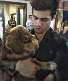 Shadowhunters ... Matthew Daddario as Alec Lightwood ... cuddling with a cute dog