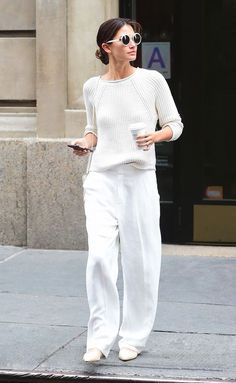 Celeb-Approved Looks to Get You Out of an Outfit Rut Beige Outfit, All White Outfit, White Outfits, Casual Outfits, Fashion Outfits, Work Outfits, Wide Pants Outfit, Trouser Outfits, White Fashion