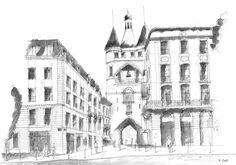 La grosse Cloche - Bordeaux - France. Black ink drawing by Nicolas Jolly. #drawing #ink #blackandwhite #art #village