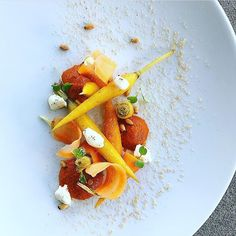 """1,233 Likes, 2 Comments - Chef's Roll, Inc. (@chefsroll) on Instagram: """"Sous vice 5 spice carrot, red pepper coulis, charred goat cheese, pine nut by @ryneharwick…"""""""