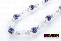 ISMOS Joyería: Collar de plata, cuarzo y talavera //ISMOS Jewellery: silver, quartz and talavera (ceramic) necklace