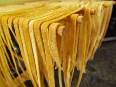 A fresh pasta dough recipe with white and wheat flours, olive oil, egg and salt. Simple and delicious! Pasta Drying Rack, Double Chocolate Chip Muffins, Olive Oil Bread, Make Your Own Pasta, Czech Recipes, Italian Recipes, Dry Bread, Dough Ingredients, Pasta Shapes