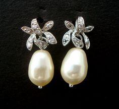 Bridal Rhinestone Earrings, Ivory Swarovski Pearls,  Orchid Flower Earrings, Bridal Pearl Earrings, Pear Shape, Stud Earrings, GAIL
