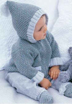 Hooded jacket and slippers months) - Knitting 01 Baby Knitting Patterns, Baby Sweater Knitting Pattern, Hoodie Pattern, Crochet Stitches Patterns, Cardigan Pattern, Crochet Shawl, Crochet Baby, Knit Crochet, Baby Tumblr