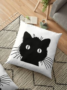 'Vintage Black Cat' Floor Pillow by phantastique Framed Prints, Canvas Prints, Art Prints, Floor Pillows, Throw Pillows, Cat Crafts, Vintage Halloween, Small Businesses, Vintage Black