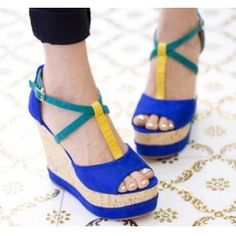 Wholesale Europe and the United States for women\'s shoes baba shoe large base shoe heels wedges sandals CZ-0698 blue - Lovely Fashion