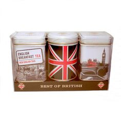 Best of British souvenir tea tin set of three tins ... decorated with iconic London images: red doubledecker bus crossing bridge leading to Parliament's Big Ben clock tower, Union Jack flag, aerial view of London, c. 2010s