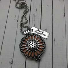 Just Breathe Hand Stamped Aromatherapy Essential Oil Diffuser Locket Pendant - Sunflower Jewelry - Diffuser Necklace - Aromatherapy Necklace