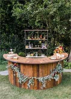 outdoor rustic wedding bar ideas