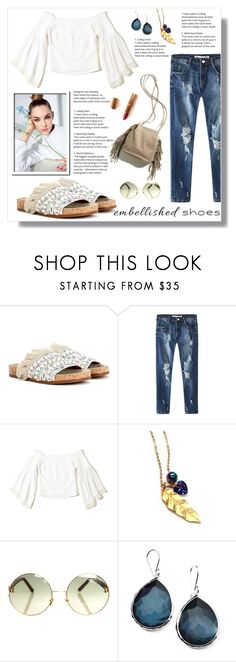 """Embellished Shoes Contest"" by nadia-gadelmawla ❤ liked on Polyvore featuring Chloé, Hollister Co., Miss High & Low, Linda Farrow, Charlotte Tilbury, Ippolita, casualoutfit, CasualChic, distresseddenim and embellishedshoes"