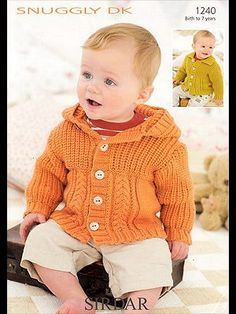 Buy from our great range of knitting patterns for jumpers and sweaters. Stand out from the crowd in one of your own homemade custom creations! Knitting For Charity, Knitting For Kids, Crochet For Kids, Crochet Baby, Baby Boy Cardigan, Knitted Baby Cardigan, Knit Baby Sweaters, Baby Knits, Knitting Patterns Uk