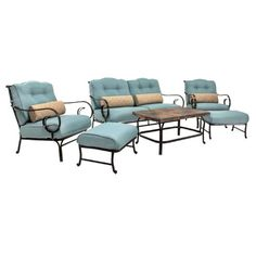 Hanover OCEANA6PC Oceana 6-Piece Outdoor Lounging Set, Includes Sofa, 2 Arm Chairs, 2 Ottomans and Coffee Table