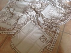 Large Vintage Shabby Chic French Lace Tablecloth. Ivory and taupe.126 inches x  55 inches (320 cm x 140cm) with 12 Napkins. Beautiful Items by FleursEnFrance on Etsy