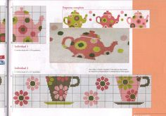 Sandrinha Ponto Cruz / cute / floral / teacup / mug / spring / summer / border