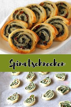 Spinatschnecken SPINACH SNAILS: Made of puff pastry, spinach and dried tomatoes - delicious! Whether as an antipasti, for brunch or as a snack in between, you can spoil your, and the palates of your g Healthy Vegan Snacks, Vegan Recipes, Keto Snacks, Spinach Puff Pastry, Vegetable Protein, Dried Tomatoes, Going Vegan, Finger Foods, Food And Drink