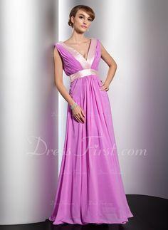 A-Line/Princess V-neck Floor-Length Chiffon Charmeuse Evening Dress With Ruffle Sash (017014783) - DressFirst Vreselijke kleur, maar prachtig model!!