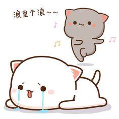 蜜桃猫 Cute Bunny Cartoon, Cute Cartoon Images, Cute Cat Gif, Cute Cartoon Wallpapers, Cute Images, Cute Cats, Chibi Cat, Kawaii Chibi, Kawaii Cat