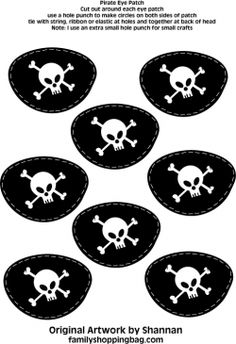 Eye Patches, Pirate, Party Decorations - Free Printable Ideas from Family Shoppingbag.com