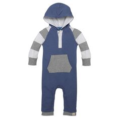 Baby Boys' Rugby Stripe Sleeve Hooded Coverall Blue 12 M - Burt's Bees Baby, Infant Boy's
