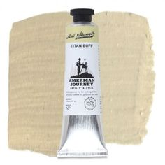 American Journey Artists' Acrylic, Titan Buff is a light, yellow-grey and is ideal for highlights in portraits and landscape paintings. Available in a 60 ml. tube. #ArtSupplies #AcrylicPainting #Acrylic