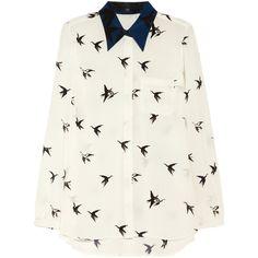 Tibi Paloma printed silk crepe de chine shirt (3,040 CNY) found on Polyvore bird print 鸟形印花20121221