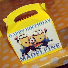 Minion Party Food Box Minion Birthday, Boy Birthday, Birthday Ideas, Birthday Parties, Happy Birthday, Minion Party Food, Despicable Me Party, Party Food Boxes, I Party