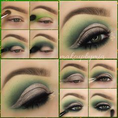 """) Using the @SigmaBeauty E55 brush I applied """"Vanilla"""" by @MotivesCosmetics to my brow bone. 2) With the @MakeupGeekCosmetics Stiff Dome Brush I blended """"Fiji"""" Eyeshadow (MUG) Above my crease. 3) Taking @MorpheBrushes' MB18 & the Matte Forest Green"""