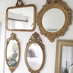 Vintage gold mirror gallery wall Mirror Gallery Wall, Mirror Collage, Gallery Walls, Painting On Mirror, Bedroom Decor For Teen Girls, Teen Girl Bedrooms, Decoration Design, Deco Design, Vintage Gold Mirror