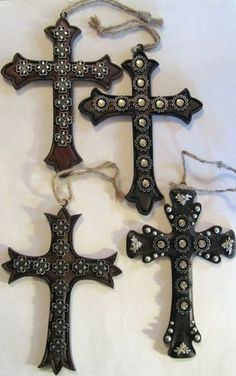 Western Crosses Decorated w/Conchos Christmas Ornaments - Set of 4 - Brand New
