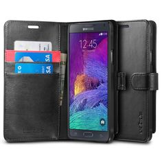 Amazon.com: Galaxy Note 4 Case, Spigen® [Stand Feature] Galaxy Note 4 Case Wallet **NEW** [Wallet S] [Black] Premium Wallet Case with STAND Flip Cover for Samsung Galaxy Note 4 (2014) - Black (SGP11147): Cell Phones & Accessories