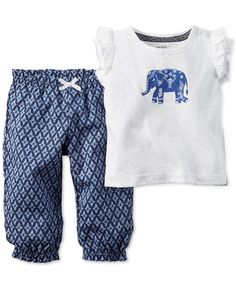 Carters Newborn 3 6 9 12 18 24 Months 2pc Elephant Set Baby Girl Clothes Outfit #Carters #Everyday