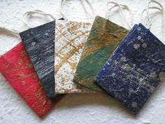 Small CHRISTMAS GIFT BAG, TABLE FAVOUR metallic brush HANDMADE MULBERRY PAPER