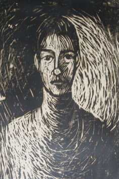 Large Portrait Woodblock Print, Hand-Printed Signed Limited Edition. $40.00, via Etsy. Suzanne Summers LaPierre