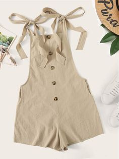 Check out this Tied Strap Button Front Low Side Romper on Shein and explore more to meet your fashion needs! Casual Wear, Casual Outfits, Cute Outfits, Summer Outfits, Girl Outfits, Fashion Outfits, Fashion 2020, Fashion News, Fashion Fashion