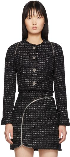 Alexander Wang Black and White Tweed Zipper Jacket , Black Sweater Outfit, Kendall Jenner Outfits, Victoria Dress, Red Carpet Dresses, Tweed Jacket, Red Carpet Fashion, Black Sweaters, Alexander Wang, Celebrity Style