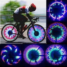 新しい到着カラフルな自転車ライト自転車バイクサイクリングホイールライト32パターンのledスポーク防水送料無料