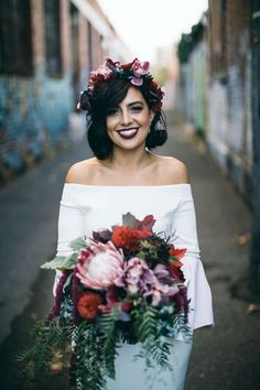 modern bride in off-shoulder wedding dress and berry-toned flower crown. Urban Wedding Inspiration for Jenny Buckland Hair and Make Up Flower Crown Wedding, Wedding Hair Flowers, Flowers In Hair, Hair Wedding, Bridal Flower Crowns, Crown Flower, Berry Wedding, Bride With Flower Crown, Autumn Wedding Dresses