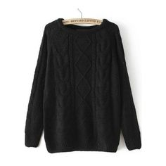 Cable Knit Loose Black Sweater ($16) ❤ liked on Polyvore featuring tops, sweaters, black top, loose fit sweater, loose sweater, black sweater and loose fitting sweaters