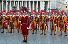 Photo about VATICAN - CIRCA APRIL 2005 : Pontifical Swiss Guards stand by during pope elections circa April 2005 in Vatican. Image of pontific, european, favorite - 11565682 Rome City, Vatican City, Swiss Guard, Renaissance Era, Bride Of Christ, Church History, Catholic Saints, Editorial Photography, Angels